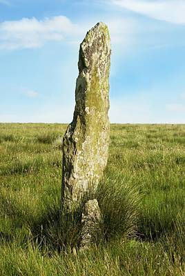 Erect Photograph - Challacombe Longstone by David Aubrey