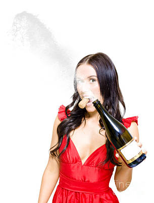 Champagne Celebration With A Splash Of Success  Art Print