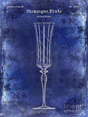 Champagne Glasses Photograph - Champagne Flute Patent Drawing Blue by Jon Neidert