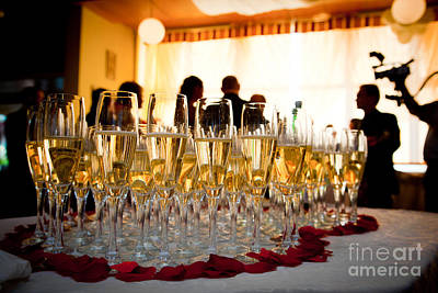 Occasion Photograph - Champagne Glasses At The Party by Michal Bednarek