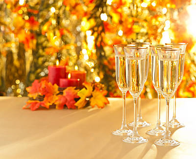 Photograph - Champagne Glasses For Reception In Front Of Autumn Background by U Schade