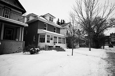 character homes during winter in caswell hill Saskatoon Saskatchewan Canada Art Print