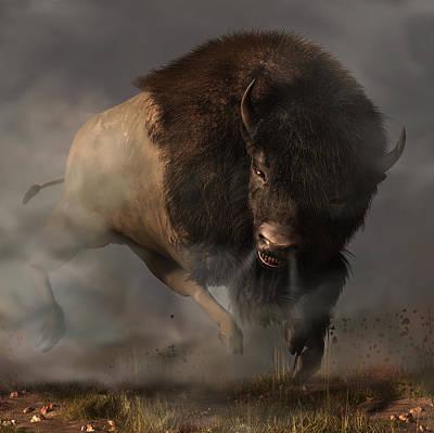 Bison Digital Art - Charging Bison by Daniel Eskridge