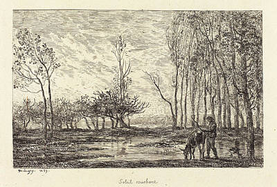 Soleil Couchant Drawing - Charles-françois Daubigny French, 1817 - 1878 by Quint Lox