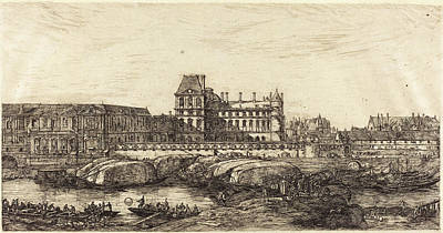Louvre Drawing - Charles Meryon French, 1821 - 1868, Lancien Louvre Daprès by Quint Lox
