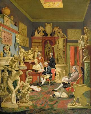 Library Painting - Charles Townley And His Friends by Johann Zoffany