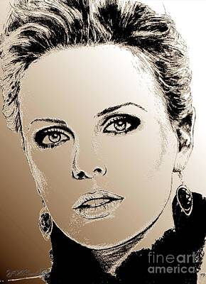 Digital Art - Charlize Theron In 2008 by J McCombie