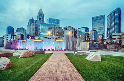Photograph - Charlotte City Skyline In The Evening by Alex Grichenko