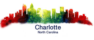 Digital Art - Charlotte North Carolina Skyline by Loretta Luglio