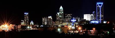 Charlotte Skyline Photograph - Charlotte Panoramic  by Frozen in Time Fine Art Photography