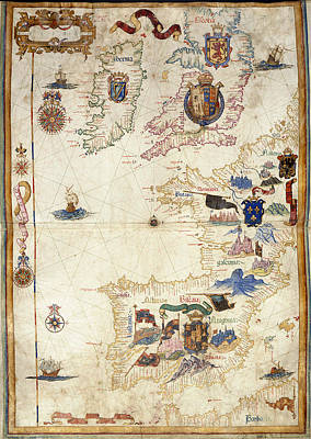 Queen Mary Photograph - Chart Of Western Europe by British Library