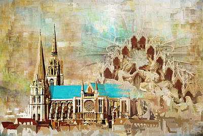 Chartre Painting - Chartres Cathedral by Catf