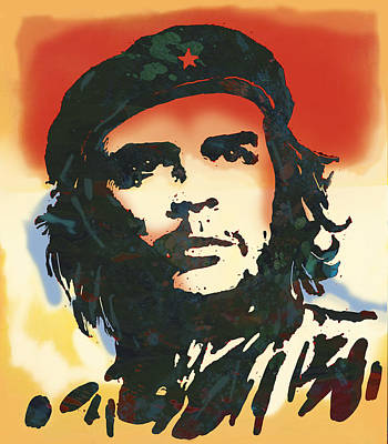 Us Flag Mixed Media - Che Guevara Stylised Modern Drawing Art Sketch by Kim Wang