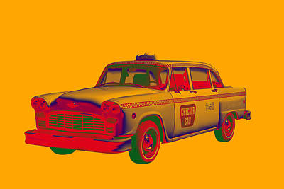 Checker Cab Photograph - Checkered Taxi Cab Pop Art by Keith Webber Jr