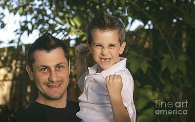 Cheering Child And Man Bonding On Fathers Day Art Print by Jorgo Photography - Wall Art Gallery