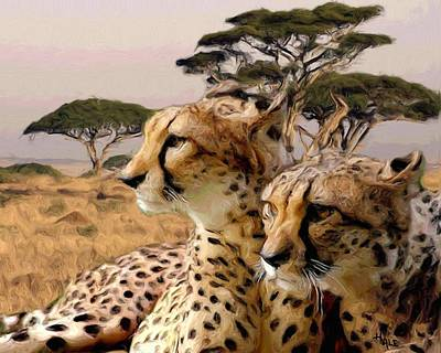 Painting - Cheetah Brothers by Roger D Hale