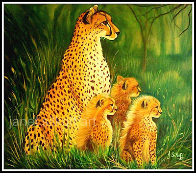 Painting - Cheetah Family by Janet Silkoff