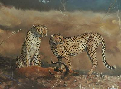 Painting - Cheetah Kill by Robert Teeling