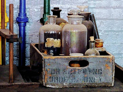Box Photograph - Chemist - Bottles Of Chemicals In A Wooden Box by Susan Savad