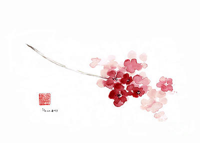 Pink Flower Branch Painting - Cherry Blossom Sakura Pink Flower Flowers Delicate Branch Brown Watercolor Painting by Johana Szmerdt