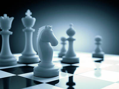 Chess Game Photograph - Chess Piece On Chess Board by Ktsdesign