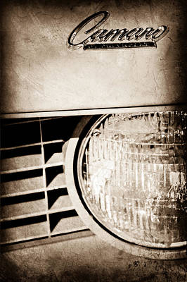 Headlight Photograph - Chevrolet Camaro Headlight Emblem by Jill Reger