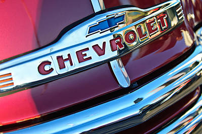 Chevy Pickup Truck Photograph - Chevrolet Pickup Truck Grille Emblem by Jill Reger