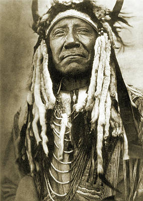 Cheyenne Headdress Photograph - Cheyenne Chief, C1910 by Granger
