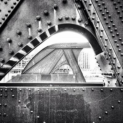 Hdr Photograph - Chicago Bridge In Black And White by Paul Velgos