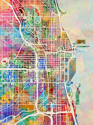 Watercolour Digital Art - Chicago City Street Map by Michael Tompsett