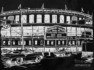Wrigley Field Drawing - Chicago Cubs Wrigley Field by Robert Birkenes
