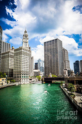Chicago Downtown At Michigan Avenue Bridge Picture Art Print by Paul Velgos