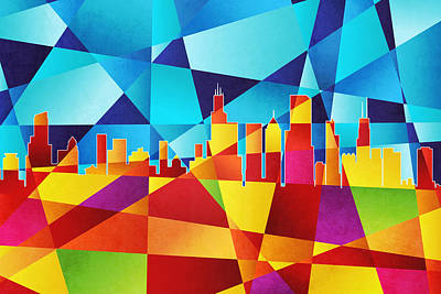Abstract Skyline Digital Art - Chicago Illinois Skyline by Michael Tompsett