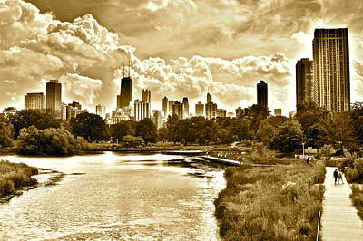 Photograph - Chicago In Sepia by Frozen in Time Fine Art Photography