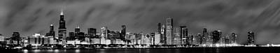 Chicago Skyline At Night In Black And White Art Print by Sebastian Musial