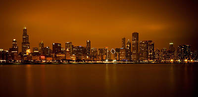 Photograph - Chicago Skyline In Fog With Reflection by Anthony Doudt