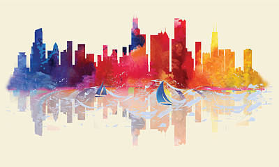 Digital Art - Chicago Skyline by Loretta Luglio