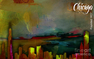 Chicago Skyline Watercolor Print by Marvin Blaine