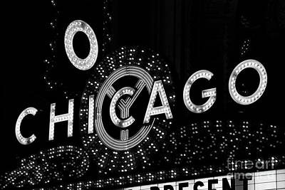 Chicago Photograph - Chicago Theater Sign In Black And White by Paul Velgos