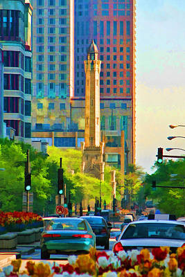 Traffic Painting - Chicago Water Tower Beacon by Christopher Arndt