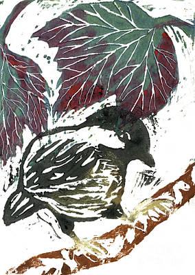 Chick A Dee  Block Print Art Print by Ellen Miffitt