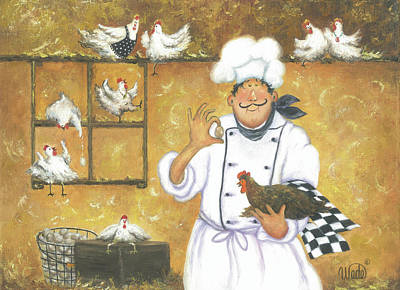 Chicken Chef Art Print by Vickie Wade