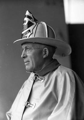 Fire Department Photograph - Chief John C. Mcdonnell Century Of Progress Fireman Chicago by Retro Images Archive