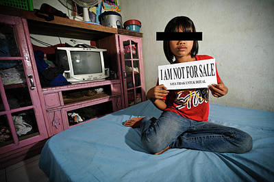 Pre-teen Photograph - Child With Sign by Matthew Oldfield
