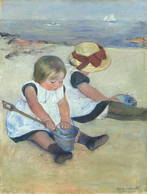 Cassatt Painting - Children Playing On The Beach by Celestial Images