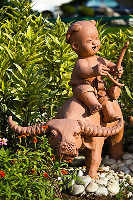 Ceramics Photograph - Childs And Buffalo by Tosporn Preede
