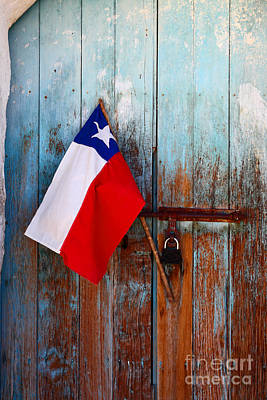 Chilean Flag On Church Door Print by James Brunker