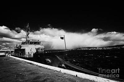 Muelle Photograph - chilean navy ship psg-73 isaza tied up in Punta Arenas port Chile by Joe Fox