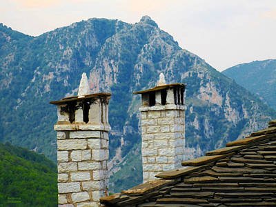Photograph - Chimneys And Mountains by Alexandros Daskalakis