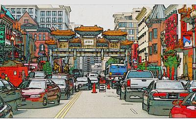 Digital Manipulation Painting - Chinatown by David Zimmerman